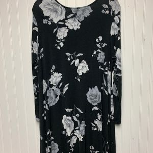 Long black dress with white and gray flowers